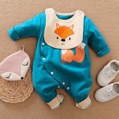 Baby Cartoon Button Animal Print Cotton One-piece