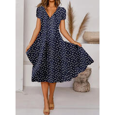 Print Short Sleeves A-line Skater Casual Midi Dresses