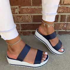 Women's Leatherette Chunky Heel Sandals Platform Peep Toe Slippers With Hollow-out Splice Color shoes
