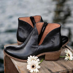 Women's Leatherette Chunky Heel Boots With Zipper Solid Color shoes