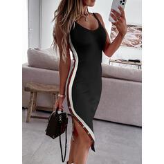 Striped Sleeveless Sheath Knee Length Sexy Dresses