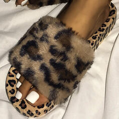 Women's PVC Flat Heel Sandals Peep Toe Slippers With Animal Print shoes