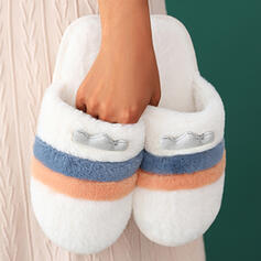 Women's Fake fur Flat Heel Sandals Flats Slippers With Faux-Fur Splice Color Striped shoes
