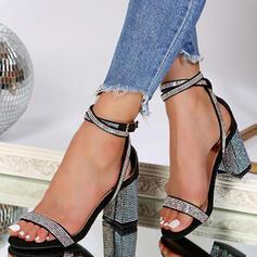 Women's PU Chunky Heel Sandals Pumps Peep Toe With Rhinestone shoes