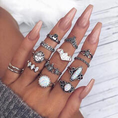 Exotic Alloy With Rhinestones Rings (Set of 12)