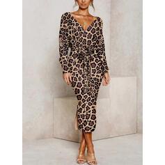 Leopard Long Sleeves Bodycon Pencil Casual Midi Dresses