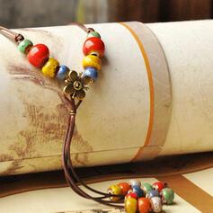 Unique Romantic Ceramic Beads Leather Women's Ladies' Unisex Girl's Necklaces