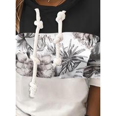 Print Floral Patchwork Long Sleeves Hoodie