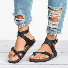Women's PU Flat Heel Sandals Peep Toe Toe Ring With Hollow-out Bandage shoes