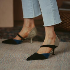 Women's Suede Stiletto Heel Sandals Pumps Pointed Toe With Splice Color shoes