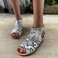 Women's PU Flat Heel Sandals Flats Peep Toe With Animal Print Hollow-out shoes