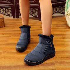 Women's Cloth Fabric Flat Heel Flats Boots Ankle Boots Snow Boots Round Toe With Zipper shoes