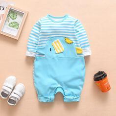 Baby Cartoon Striped Print Cotton One-piece