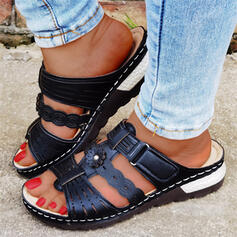 Women's PU Wedge Heel Sandals Peep Toe Slippers With Hollow-out Solid Color shoes