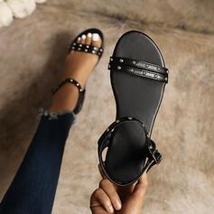 Women's PU Flat Heel Sandals Flats Peep Toe With Rivet Buckle Solid Color shoes