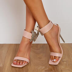 Women's PU Stiletto Heel Sandals Pumps Peep Toe With Rhinestone Hollow-out shoes
