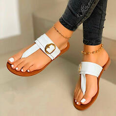 Women's PU Flat Heel Sandals Flip-Flops Slippers With Hollow-out shoes