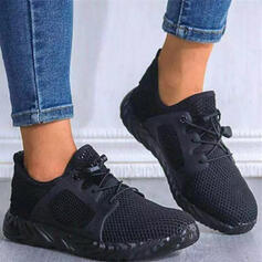 Women's Flying Weave Others Flats Low Top Sneakers With Lace-up Solid Color shoes