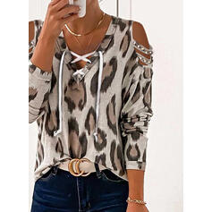Leopard Cold Shoulder Long Sleeves Cold Shoulder Sleeve Casual Blouses