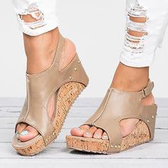 Women's Leatherette Wedge Heel Sandals Wedges Peep Toe Heels With Rivet shoes