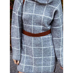 Grid Cowl Neck Casual Long Sweater Dress