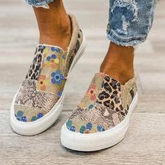 Women's Denim Flat Heel Flats Low Top Round Toe Espadrille With Animal Print Patchwork Splice Color shoes
