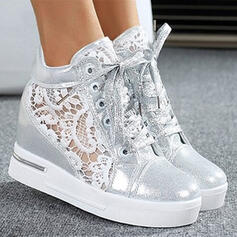 Women's PU Wedge Heel Boots With Stitching Lace Lace-up shoes