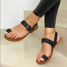 Women's PU Flat Heel Sandals Flats Slippers Toe Ring With Buckle Hollow-out shoes