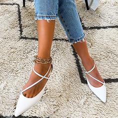 Women's PU Flat Heel Flats With Buckle Hollow-out shoes