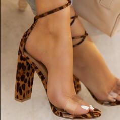 Women's PU Chunky Heel Sandals Pumps Peep Toe Heels With Animal Print shoes