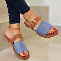 Women's Suede Flat Heel Sandals Flats Peep Toe Slippers With Buckle Hollow-out shoes