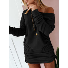 Solid Long Sleeves Bodycon Above Knee Little Black/Casual Sweatshirt Dresses