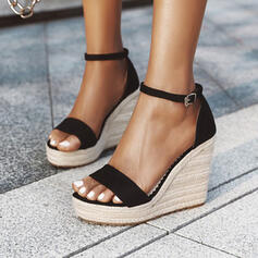Women's PU Wedge Heel Pumps With Buckle Solid Color shoes