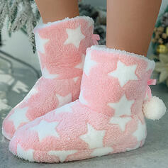 Women's Cloth Flat Heel Ankle Boots Snow Boots Round Toe Winter Boots With Lace-up Splice Color shoes