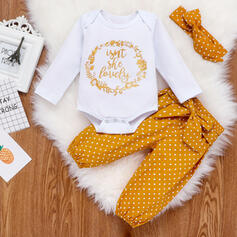 3-pieces Baby Letter Bow Polka Dot Print Cotton Set