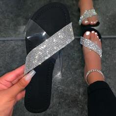 Women's EVA Flat Heel Sandals Peep Toe Slippers With Sparkling Glitter shoes