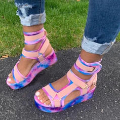 Women's PU Flat Heel Sandals Platform Peep Toe With Hollow-out Velcro shoes