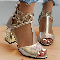 Women's Mesh Chunky Heel Sandals Peep Toe Heels With Zipper Hollow-out Solid Color shoes