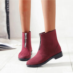 Women's PVC Low Heel Boots Ankle Boots Rain Boots Round Toe With Zipper shoes