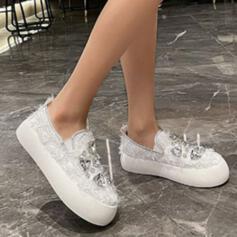 Women's Canvas Flat Heel Flats Slip On With Rhinestone Crystal shoes