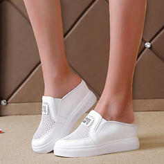 Women's Cloth Flat Heel Flats Round Toe Mules Slip On With Solid Color Stripe shoes