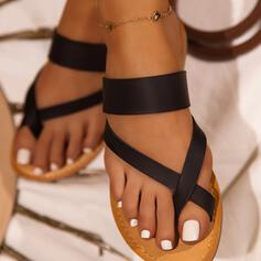 Women's PU Flat Heel Sandals Flats Slippers Toe Ring With Crisscross shoes