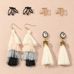 Attractive Tassels Design Rhinestones With Rhinestones Earrings (Set of 8)