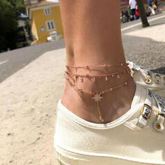 Simple Layered Alloy With Tassels Star Anklets (Set of 3)