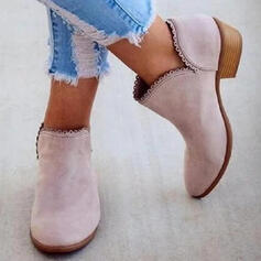 Women's PU Low Heel Boots Ankle Boots With Solid Color shoes