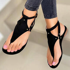 Women's PU Flat Heel Sandals Flats Peep Toe Flip-Flops With Rivet Hollow-out shoes