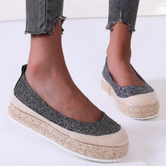 Women's PU Flat Heel Flats Round Toe With Solid Color shoes