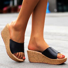 Women's Leatherette Wedge Heel Sandals Peep Toe Slippers With Solid Color shoes