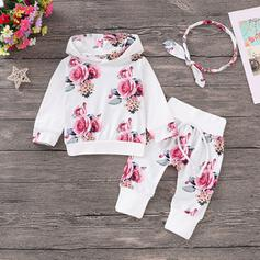 2-pieces Baby Hooded Floral Print Cotton Set