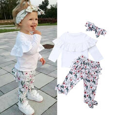 3-pieces Baby Girl Ruffle Floral Print Cotton Set